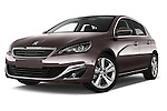 Stock pictures of low aggressive front three quarter view of 2015 Peugeot 308 Feline 5 Door Hatchback Low Aggressive