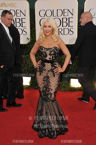 Christina Aguilera at the 68th Annual Golden Globe Awards at the Beverly Hilton Hotel..January 16, 2011  Beverly Hills, CA.Picture: Paul Smith / Featureflash