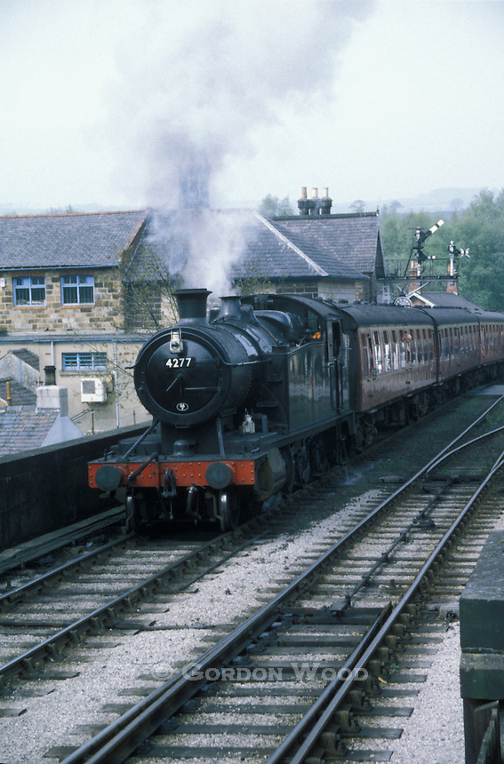 Steam Locomotive and Passenger Cars on North Yorkshire Moors Railway at Grosmont
