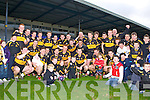Dr Crokes captain Luke Quinn celebrates with his team mates and supporters after they defeated Rathmore in the O'Donoghue Cup final in Fitzgerald Stadium on Sunday
