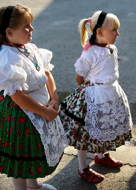 Young Svab children in traditional dress, Hajos (Hajós) Hungary