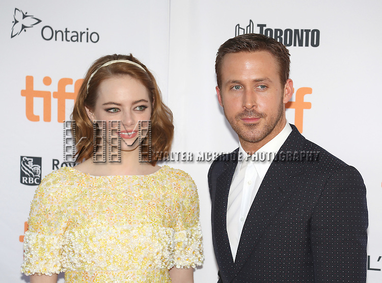 Emma Stone and Ryan Gosling attend the 'La La Land' Premiere during the 2016 Toronto International Film Festival at Princess of Wales Theatre on September 12, 2016 in Toronto, Canada.