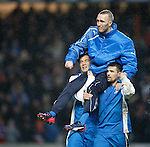 Fernando Ricksen carried by Michael Mols and Nacho Novo on a lap of honour after the match