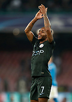 Football Soccer: UEFA Champions League Napoli vs Mabchester City San Paolo stadium Naples, Italy, November 1, 2017. <br /> Manchester City's Raheem Sterling celebrates after winning 4-2 the Uefa Champions League football soccer match between Napoli and Manchester City at San Paolo stadium, November 1, 2017.<br /> UPDATE IMAGES PRESS/Isabella Bonotto