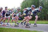 INLINE-SKATEN: STEENWIJK: Gagelsweg (start/finish), Schansweg, Meppelerweg, KPN Inline Cup, Klim van Steenwijk, 02-05-2012, Wim Dillen (#101), Arjan Smit (#50), Gerard Haasjes (#80), ©foto Martin de Jong