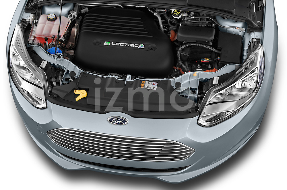 Car Stock 2014 Ford FOCUS 5P 107kW Electric 142 ch 5 Door Hatchback 2WD Engine high angle detail view