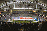 General View of the Alamodome during the singing of National Anthem before Alamo Bowl kick off, Friday, January 02, 2015 in San Antonio, Tex. (Mo Khursheed/TFV Media via AP Images)