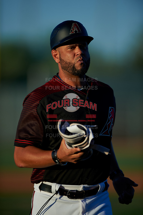AZL D-backs manager Wellington Cepeda (50) coaches third base during an Arizona League game against the AZL Mariners on July 3, 2019 at Salt River Fields at Talking Stick in Scottsdale, Arizona. The AZL D-backs defeated the AZL Mariners 3-1. (Zachary Lucy/Four Seam Images)