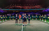 Rotterdam, The Netherlands, 17 Februari 2019, ABNAMRO World Tennis Tournament, Ahoy,  award ceremony, Winner Gael Monfils (FRA) and tournament director Richard Krajicek (M)  next to Krajicek runner up Stan Wawrinka (SUI) with his speech  and director of Ahoy Jolanda Jansen, left CEO of the ABNAMRO Bank Kees van Dijkhuizen <br /> Photo: www.tennisimages.com/Henk Koster