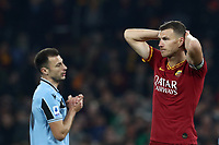 Football, Serie A: AS Roma - S.S. Lazio, Olympic stadium, Rome, January 26, 2020. <br /> Roma's captain Edin Dzeko (r) and Lazio's Stefan Radu (l) react during the Italian Serie A football match between Roma and Lazio at Olympic stadium in Rome, on January,  26, 2020. <br /> UPDATE IMAGES PRESS/Isabella Bonotto