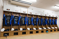 A general view of Bath Rugby jerseys hung up in the changing rooms prior to the match. European Rugby Champions Cup match, between RC Toulon and Bath Rugby on December 9, 2017 at the Stade Mayol in Toulon, France. Photo by: Patrick Khachfe / Onside Images