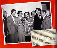 BNPS.co.uk (01202 558833)<br /> Pic: NateDSanders/BNPS<br /> <br /> Sinatra was presented with the award by Marina Cisternas. <br /> <br /> Frank Sinatra's first Golden Globe has emerged for sale for £38,000. ($50,000)<br /> <br /> The legendary crooner received the award in 1946 for his role in the short film 'The House I Live In' which railed against anti-semitism.<br /> <br /> In it, 'ol blue eyes' convinces a group of young American boys bullying a Jewish boy to stop.<br /> <br /> Sinatra gave the award to a friend from California and it has remained in his estate until now. It is being sold by his descendants with US auction house Nate D Sanders.<br /> <br /> The auctioneer says it is the only major award won by Sinatra which has emerged on the private market, adding to its significance. This is because the Sinatra Estate still owns most of his awards and are fiercely protective of his legacy.