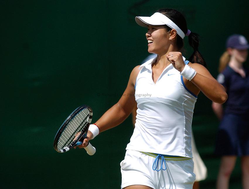 Photo: Richard Lane..Wimbledon Championships. 03/07/2006. .Ni Li of China celebrates match point.