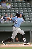 Left fielder Jonathan Ornelas (3) of the Hickory Crawdads bats in a game against the Greenville Drive on Wednesday, May 15, 2019, at Fluor Field at the West End in Greenville, South Carolina. Greenville won, 6-5. (Tom Priddy/Four Seam Images)