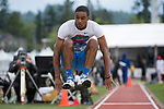 EUGENE, OR - JUNE 09: KeAndre Bates of the University of Florida competes in the triple jump during the Division I Men's Outdoor Track & Field Championship held at Hayward Field on June 9, 2017 in Eugene, Oregon. Bates won the event with a 16.76 meter jump. (Photo by Jamie Schwaberow/NCAA Photos via Getty Images)