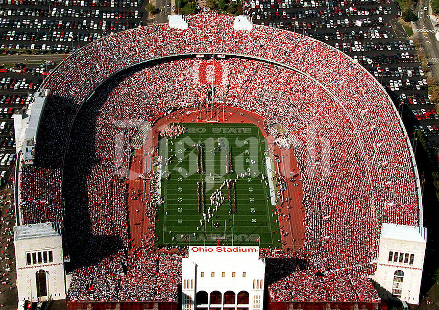 "Block O -- OSU -- Ohio Stadium -- aerial -- Students hold up cards to form the traditional block ""O"" as the teams take the field at the beginning of the Penn State game Oct. 7, 1996. (Columbus Dispatch photo)"