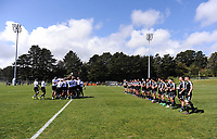 The teams face off before kickoff in the rugby match between New Zealand Maori Under-18 and Fiji Schools at Jerry Collins Stadium in Porirua, Wellington, New Zealand on Friday, 5 October 2018. Photo: Dave Lintott / lintottphoto.co.nz