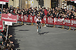 Michal Kwiatkowski (POL) Omega Pharma-Quick Step approaches the finish line on Il Campo in Siena to win at the end of the 2014 Strade Bianche race over the white dusty gravel roads of Tuscany running 200km from San Gimignano to Siena, Italy. 8th March 2014.<br /> Picture: Eoin Clarke www.newsfile.ie