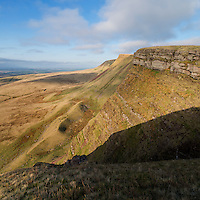 View along Carmarthen Fans - Bannau Sir Gaer towards Picws Du, Black Mountain, Brecon Beacons national park, Wales