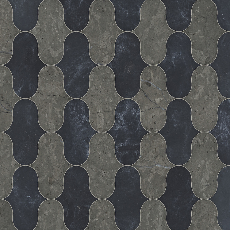 Cabana, a waterjet cut stone mosaic, shown in honed Cavern and Orpheus Black, is part of the Semplice® collection for New Ravenna.
