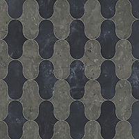 Cabana, a waterjet cut stone mosaic, shown in honed Cavern and Orpheus Black, is part of the Semplice™ collection for New Ravenna.
