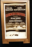 """Theatre Marquee for Gilda Radner & Sam Waterston starring in  """"Lunch Hour"""" Directed by Mike Nichols on Nov 12, 1980 at the Barrymore Theatre in New York City."""