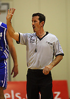 Referee Andy Thackray, who refereed his 100th game tonight during the NBL Round 12 match between the Wellington Saints and Nelson Giants at TSB Bank Arena, Wellington, New Zealand on Thursday 15 May 2008. Photo: Dave Lintott / lintottphoto.co.nz