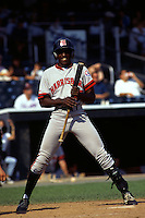 Harrisburg Senators outfielder Vladimir Guerrero during a game versus the New Haven Ravens at Yale Field in West Haven, Connecticut during the 1996 season.  (Ken Babbitt/Four Seam Images)