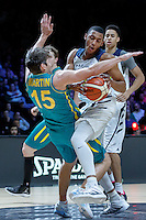 July 14, 2016: STEPHEN DOMINGO (31) of the California Golden Bears fouls DAMIAN MARTIN (15) of Australia during game 2 of the Australian Boomers Farewell Series between the Australian Boomers and the American PAC-12 All-Stars at Hisense Arena in Melbourne, Australia. Sydney Low/AsteriskImages.com