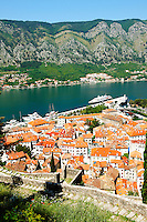 Arial view of Kotor roofs Montenegro - Kotor Bay