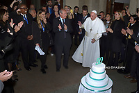"Pope Francis celebrates 50 years as a priest during the official inauguration of the new "" Pontifical Scholas Occurrentes "", in Rome, on December 13, 2019."