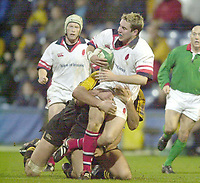 London. Great Britain, Ulster Full back Paddy Wallace on the attack  during the Heineken Cup.London Wasps v Ulster Match, played at Loftus Road, West London. 06/01/2002.  [Mandatory Credit;  Peter Spurrier/Intersport Images]..