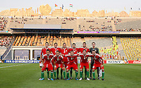 Hungary's team, from left to right, back row, Zsolt Korcsmar (6),  Adam Presinger (14), Janos Szabo (2),  Bence Zambo (15), Andras Debreceni (5), Peter Gulacsi (1), front row, Krisztian Nemeth (9), Adras Gosztonyi (17), Andras Simon (8), Mate Kiss (4), Adam Simon (16), stands on the field before the game against Ghana at the FIFA Under 20 World Cup Semi-final match at the Cairo International Stadium in Cairo, Egypt, on October 13, 2009. Costa Rica won the match 1-2 in overtime play. Ghana won the match 3-2.     ... ...... ..