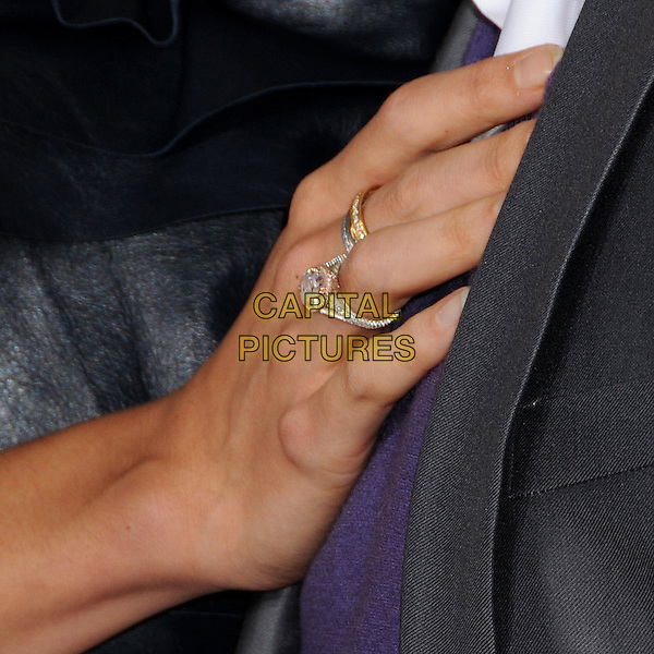 "KATIE HOLMES' RING.""Tropic Thunder"" Los Angeles Premiere at Mann's Village Theatre, Westwood, California, USA. .August 11th, 2008 .diamond jewellery hand on chest .CAP/ADM/BP.©Byron Purvis/AdMedia/Capital Pictures."