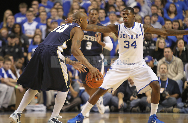 DeAndre Liggins guarded an East Tennessee State player at Rupp Arena on Friday, November 12, 2010. Photo by Latara Appleby | Staff