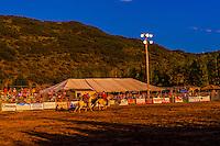 Saddle bronc riding competition, Snowmass Rodeo, Snowmass Village (Aspen), Colorado USA.