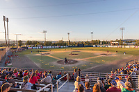 The Fairbanks Goldpanners play the San Diego Waves in the 2017, June 21, Midnight Sun baseball game in Fairbanks, Alaska.