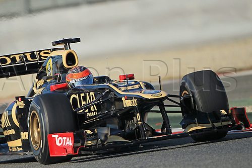 21.02.2012 Barcelona Spain. Formula One testing, day 1. Romain Grosjean in the Lotus.