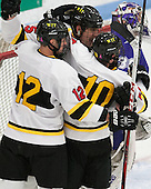 Beau Burgau (WIT - 12), Seric Kapp (WIT - 15), Dan Szerlip (WIT - 10) - The Wentworth Institute of Technology Leopards defeated the visiting Curry College Colonels 1-0 on Saturday, November 23, 2013, at Walter Brown Arena in Boston, Massachusetts.