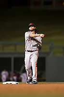 Scottsdale Scorpions second baseman C.J. Hinojosa (8), of the San Francisco Giants organization, throws to first base during an Arizona Fall League game against the Salt River Rafters at Salt River Fields at Talking Stick on October 11, 2018 in Scottsdale, Arizona. Salt River defeated Scottsdale 7-6. (Zachary Lucy/Four Seam Images)