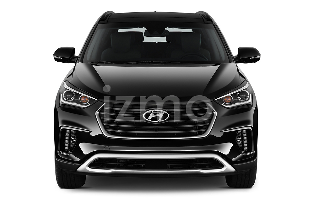 Car photography straight front view of a 2019 Hyundai Santa FE XL Limited Ultimate 5 Door SUV