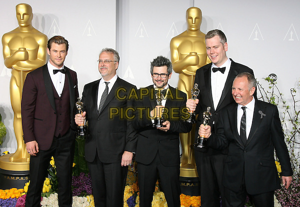 02 March 2014 - Hollywood, California -  Chris Hemsworth, Skip Lievsay, Niv Adiri, Christopher Benstead, Chris Munro. 86th Annual Academy Awards held at the Dolby Theatre at Hollywood &amp; Highland Center. <br /> CAP/ADM<br /> &copy;AdMedia/Capital Pictures