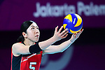Erika Araki (JPN), <br /> SEPTEMBER 1, 2018 - Volleyball : <br /> Women's Bronze Medal match<br /> between Japan 1-2 Korea <br /> at Gelora Bung Karno Indoor Tennis Stadium <br /> during the 2018 Jakarta Palembang Asian Games <br /> in Jakarta, Indonesia. <br /> (Photo by Naoki Nishimura/AFLO SPORT)