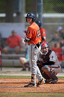Matthew Ruiz (23) during the WWBA World Championship at the Roger Dean Complex on October 13, 2019 in Jupiter, Florida.  Matthew Ruiz attends American Heritage High School in Hialeah, FL and is committed to South Florida.  (Mike Janes/Four Seam Images)
