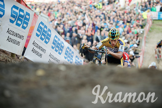 "Tom Meeusen (BEL/Telenet-Fidea) emerging from ""The Pit""<br /> <br /> GP Zonhoven 2014"