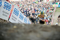 Tom Meeusen (BEL/Telenet-Fidea) emerging from &quot;The Pit&quot;<br /> <br /> GP Zonhoven 2014