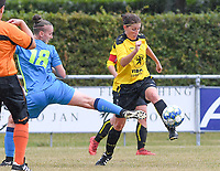 20190907 – PITTEM , BELGIUM : Egem's Lies Van Hamme pictured in a duel with Saint-Ghislain's Julie Challe (left) during a women soccer game between Dames DVK Egem  and Union Saint-Ghislain Tertre-Hautrage  on the second round matchday of the Belgian Women's Cup – Beker van Belgie -  season 2019-2020 , saturday 7th September  2019  in Pittem  , Belgium  .  PHOTO SPORTPIX.BE | DAVID CATRY