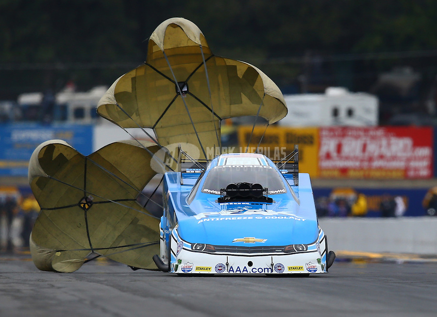 Oct 3, 2015; Mohnton, PA, USA; NHRA funny car driver John Force during qualifying for the Keystone Nationals at Maple Grove Raceway. Mandatory Credit: Mark J. Rebilas-USA TODAY Sports