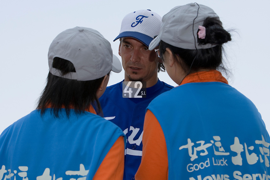 23 August 2007: #10 Samuel Meurant answers medias after the France 8-4 victory over Czech Republic in the Good Luck Beijing International baseball tournament (olympic test event) at the Wukesong Baseball Field in Beijing, China.