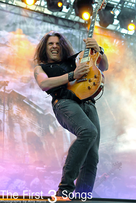 Guitarist Alex Skolnick of the band Testament performs at the Time Warner Amphitheater at Tower City in Cleveland, Ohio as part of the American Carnage Tour Wednesday on August 18, 2010. Slayer, Megadeth & Testament were on the billing.
